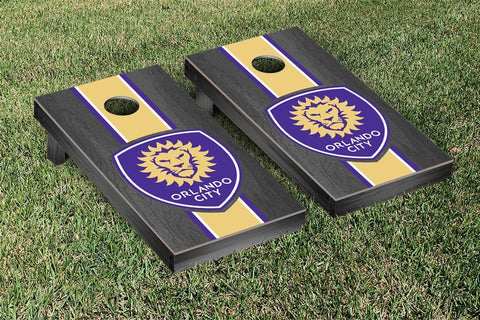 Orlando City Lions Onyx Stained Stripe Version Cornhole Game Set by Victory Tailgate