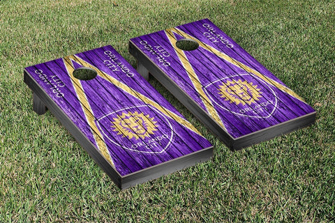 Orlando City Lions Weathered Triangle Version Cornhole Game Set by Victory Tailgate
