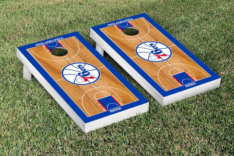 Philidelphia Sixers 76ers Cornhole Game Set Basketball Court Version - Victory Tailgate 28856