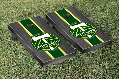 Portland Timbers Onyx Stained Stripe Version Cornhole Game Set by Victory Tailgate