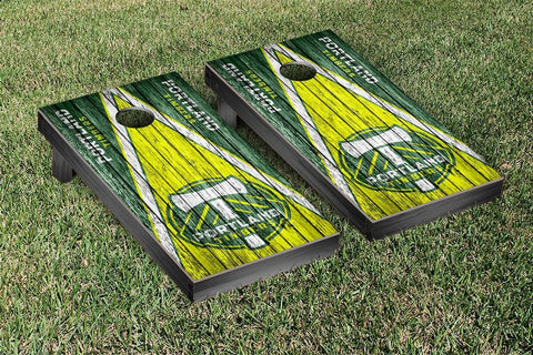 Portland Timbers Weathered Triangle Version Cornhole Game Set by Victory Tailgate