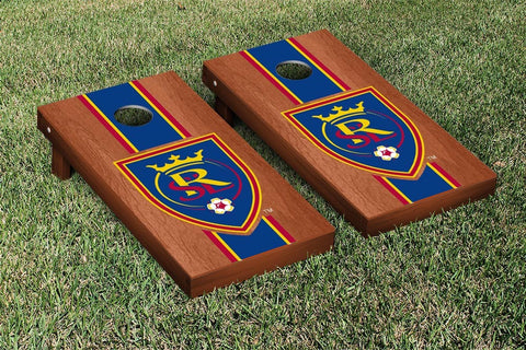 Real Salt Lake Rosewood Stained Stripe Version Cornhole Game Set by Victory Tailgate