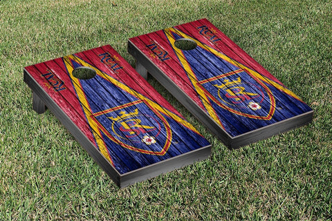 Real Salt Lake Weathered Triangle Version Cornhole Game Set by Victory Tailgate
