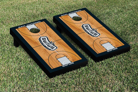 San Antonio Spurs Cornhole Game Set Basketball Court Version - Victory Tailgate 28922