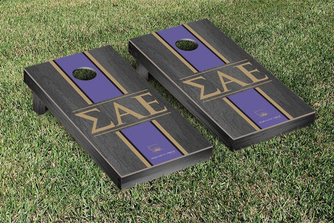 Sigma Alpha Epsilon Onyx Stained Cornhole Set Victory Tailgate 31562