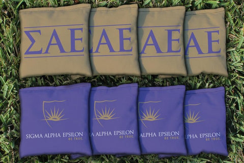 Sigma Alpha Epsilon Corn Hole Bag Logo Set - corn filled