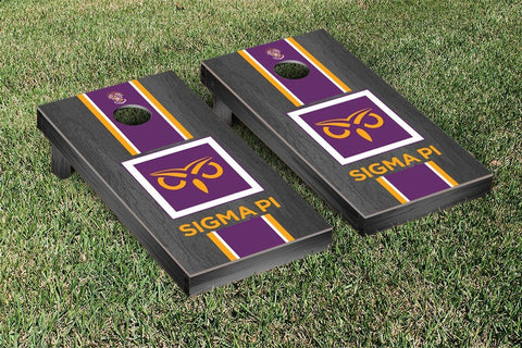 Sigma Pi Onyx Stained Cornhole Set Victory Tailgate 31636