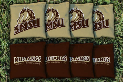 Southwest Minnesota SMSU Mustangs Corn Hole Bag Logo Set - corn filled