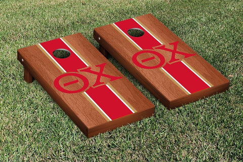 Theta Chi Rosewood Stained Cornhole Set Victory Tailgate