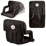 The Pittsburgh Steelers Ventura Seat for tailgating, stadiums and bleachers by Picnic Time