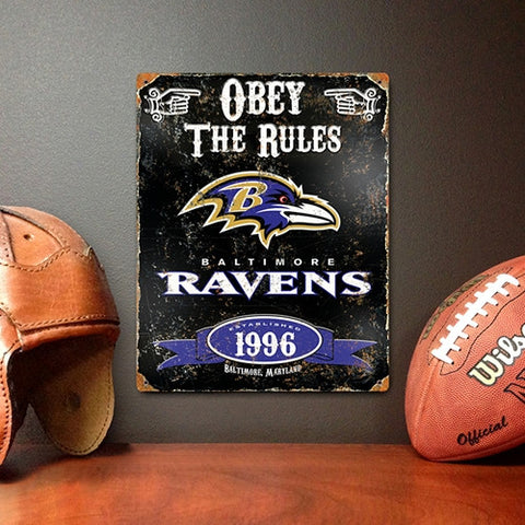Baltimore Ravens Vintage Metal Embossed Sign - Party Animal VSBA