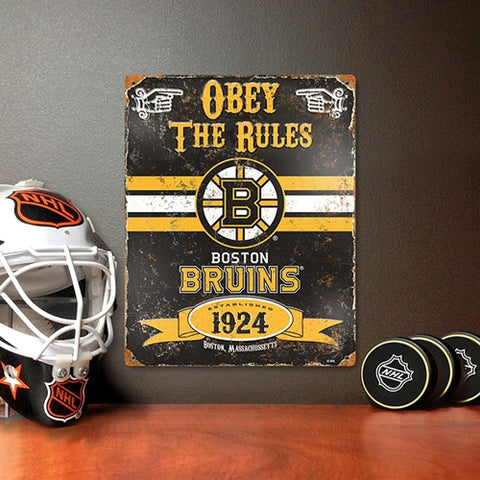 Boston Bruins Vintage Metal Embossed Sign - Party Animal VSBRU