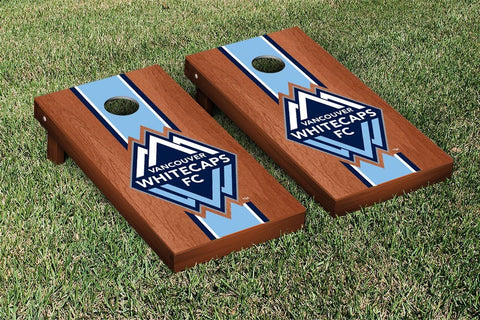 Vancouver Whitecaps Rosewood Stained Stripe Version Cornhole Game Set by Victory Tailgate