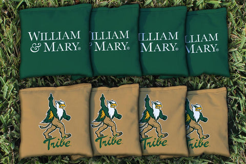 College of William & Mary Tribe Corn Hole Bag Logo Set - corn filled