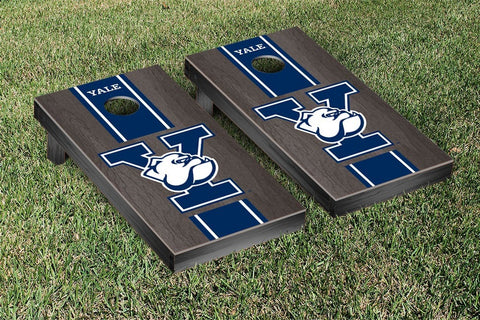 Yale Bulldogs Cornhole Game Set Onyx Stained Stripe Version - Victory Tailgate 55152