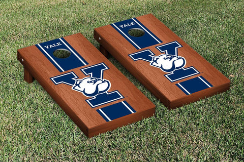 Yale Bulldogs Cornhole Game Set Rosewood Stained Stripe Version - Victory Tailgate 55151