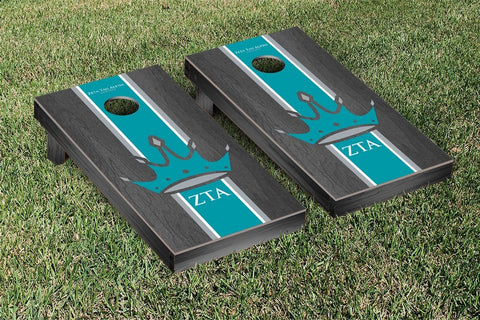 Zeta Tau Alpha Onyx Stained Stripe Version Cornhole Set Victory Tailgate 32167
