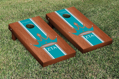 Zeta Tau Alpha Rosewood Stained Stripe Version Cornhole Set Victory Tailgate 32168
