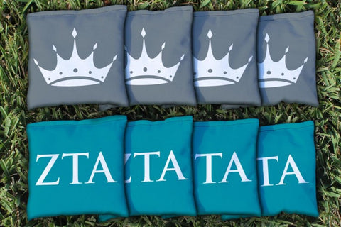 Zeta Tau Alpha Corn Hole Bag Logo Set - corn filled