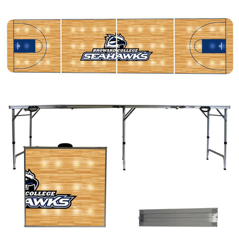 The Broward College Seahawks Basketball Court Version Portable Tailgating and Cup Game Table
