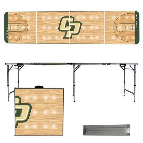 The Cal Poly Mustangs Basketball Court Version Portable Tailgating and Cup Game Table