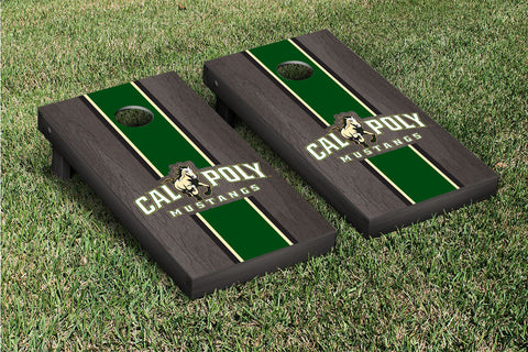 Cal Poly Mustangs Onyx Stained Striped Wooden Cornhole Set Victory Tailgate 23639