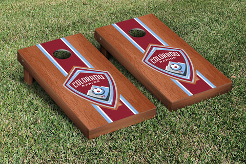 Colorado Rapids CRSC Rosewood Stained Stripe Version Cornhole Set Victory Tailgate 25096