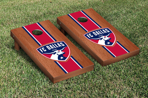 FC Dallas FCDSC Rosewood Stained Stripe Version Cornhole Set Victory Tailgate 25115