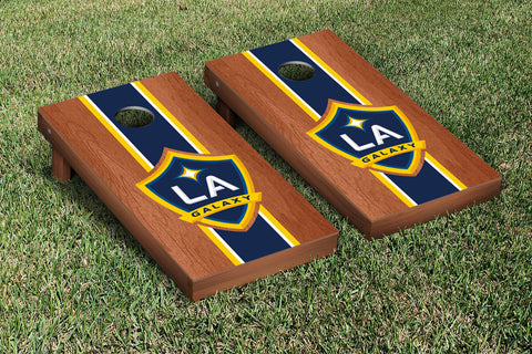Los Angeles LA Galaxy LAGSC Rosewood Stained Stripe Version Cornhole Set Victory Tailgate 25143