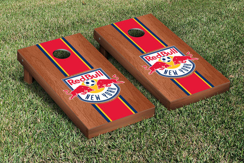 New York RBNY Rosewood Stained Stripe Version Cornhole Set Victory Tailgate 25171