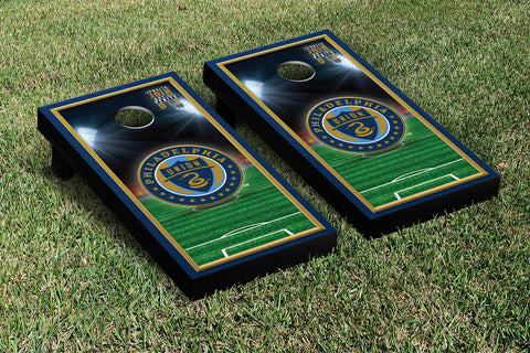 Philadelphia Union Zolos Cornhole Game Set Soccer Field Version 1 - Victory Tailgate 25180