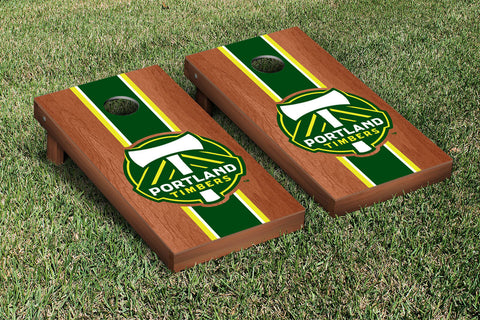Portland Timbers Rosewood Stained Stripe Version Cornhole Set Victory Tailgate 25184