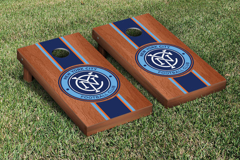 New York City FC Rosewood Stained Stripe Version Cornhole Set Victory Tailgate 25193