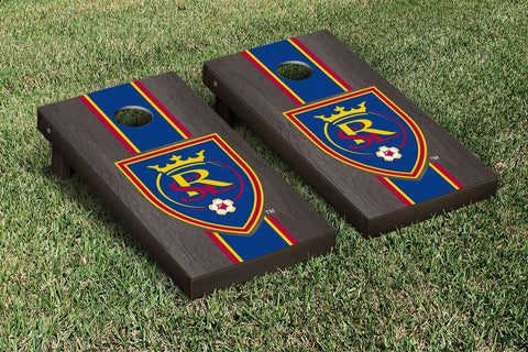 Real Salt Lake RSL Royals Onyx Stained Stripe Version Cornhole Set Victory Tailgate 25201