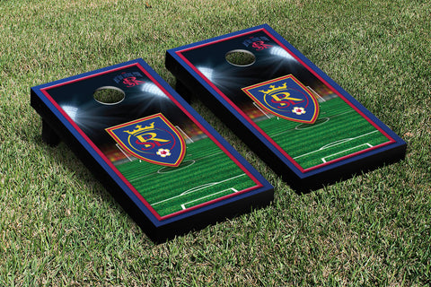 Real Salt Lake RSL Royals Cornhole Game Set Soccer Field Version 1 - Victory Tailgate 25202