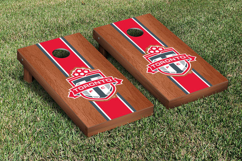 Toronto FC TFC Reds Rosewood Stained Stripe Version Cornhole Set Victory Tailgate 25237
