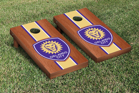 Orlando City Lions Rosewood Stained Striped Version Cornhole Set Victory Tailgate 26021