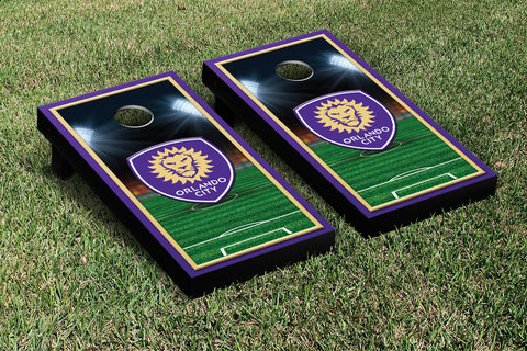 Orlando City Lions Cornhole Game Set Soccer Field Version 1 - Victory Tailgate 26022