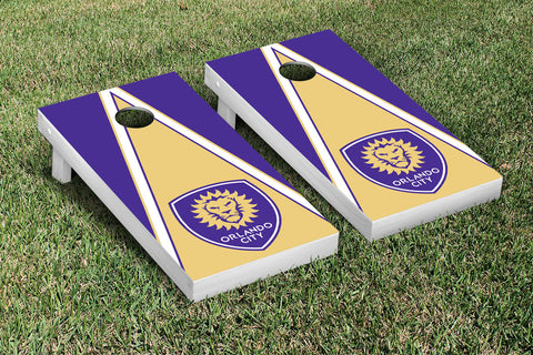 Orlando City Lions Cornhole Game Set Triangle Version - Victory Tailgate 26024