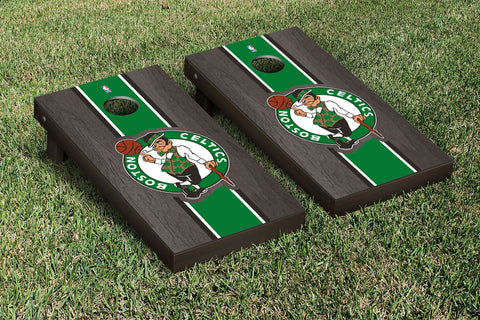 Boston Celtics NBA Onyx Stained Stripe Version Cornhole Set Victory Tailgate 28521