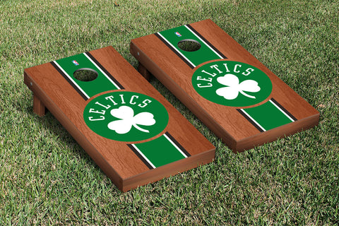 Boston Celtics NBA Rosewood Stained Stripe Version Cornhole Set Victory Tailgate 28522