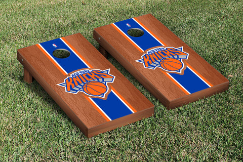 New York Knicks NBA Rosewood Stained Stripe Version Cornhole Set Victory Tailgate 28555
