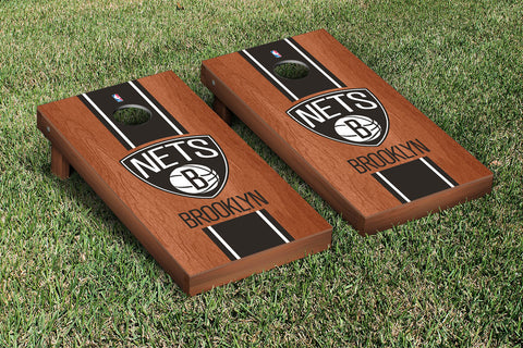 Brooklyn Nets NBA Rosewood Stained Stripe Version Cornhole Set Victory Tailgate 28566