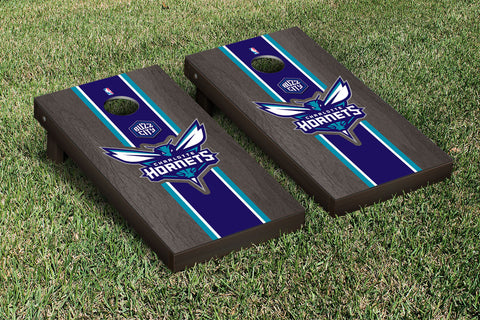 Charlotte Hornets Onyx Stained Stripe Version Cornhole Set Victory Tailgate 28572