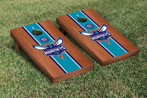 Charlotte Hornets Rosewood Stained Stripe Version Cornhole Set Victory Tailgate 28573