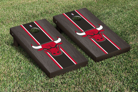 Chicago Bulls Onyx Stained Stripe Version Cornhole Set Victory Tailgate 28585