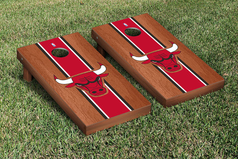 Chicago Bulls Rosewood Stained Stripe Version Cornhole Set Victory Tailgate 28586