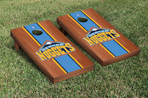 Denver Nuggets Rosewood Stained Stripe Version Cornhole Set Victory Tailgate 28627