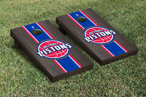 Detroit Pistons Onyx Stained Stripe Version Cornhole Set Victory Tailgate 28640