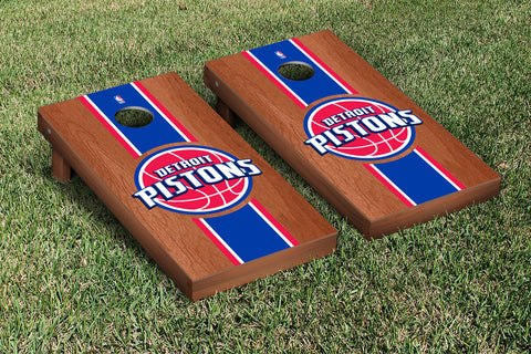 Detroit Pistons Rosewood Stained Stripe Version Cornhole Set Victory Tailgate 28641